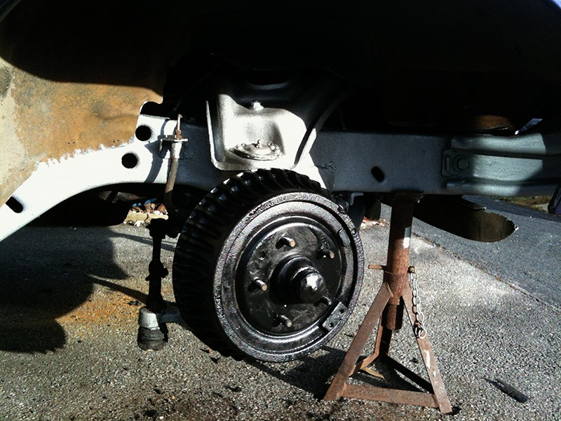 Chevy Nova painted subframe and brake drums