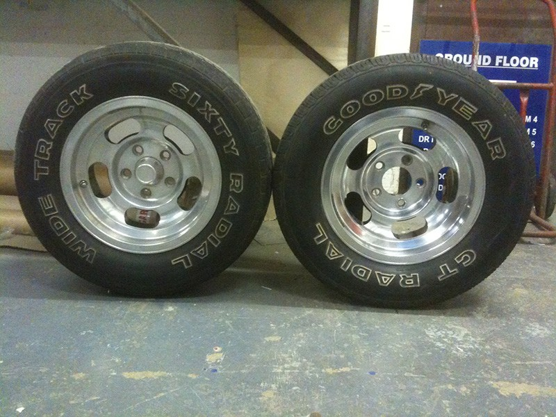 Cleaned and polished Chevy Nova wheels
